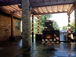 Outdoor Fireplace and Pergola - Hardscape