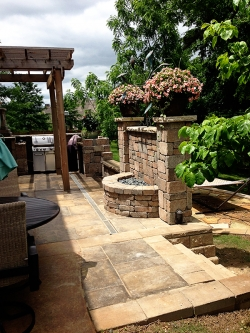 Outdoor Stone Fountain and Wall