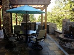 Pergola, Stone Patio, and Fountain