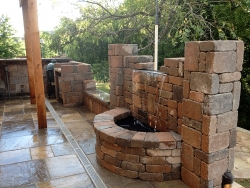 Hardscape - Stone Patio and Fountain Hardscape