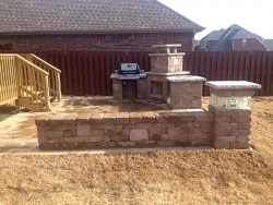Stone Patio and Rock Wall Fireplace