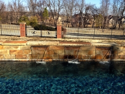 Stone Wall, Waterfall, Pool - ProScapes of NWA