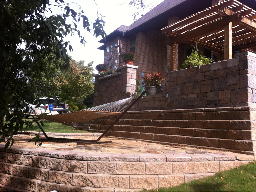 Double retaining walls with hammock landing