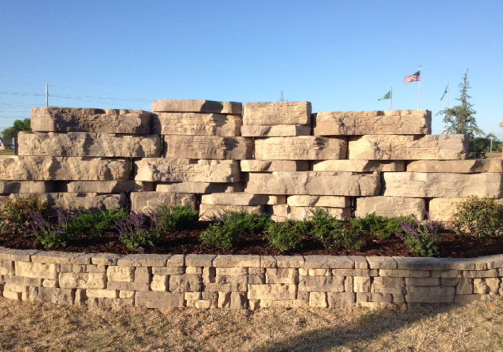 commercial retaining wall in NWA
