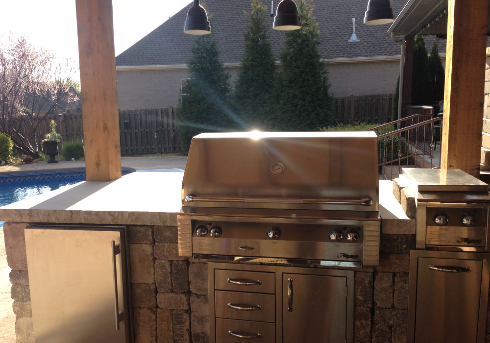 outdoor kitchen and grill